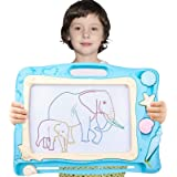 Pizarra Magnética Infantil,Automoness Almohadilla Borrable de Escritura y Dibujo con 2 Sellos y 1 Plumas,Juguetes Educativos