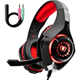 Cuffie Gaming con Microfono e Bass Stereo, Cancellazione del Rumore, Controllo del Volume per PS4 PS5 Xbox One PC Mac…