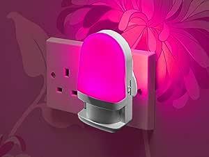 Auraglow Automatic Plug in Colour Changing LED Nursery Night Light with Dusk Till Dawn Daylight Sensor