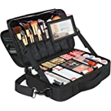 Large Makeup Bags for Women, Travel Cosmetic Makeup Train Case with Mirror, Waterproof Toiletry Organizer Bag with Adjustable