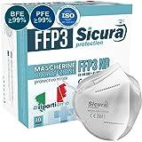10 Mascarillas Protectoras FFP3 Homologadas con Certificación CE fabricadas en Italia - Alta Eficiencia de protección bacteri