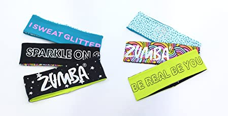 Zumba Fitness Sparkle On Head Bands reversibile 3PK Multi One Size