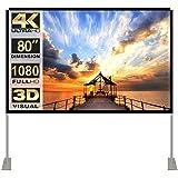 Projektorskärm med stativ 80 tum 16:9 HD 4K utomhus inomhus projektionsskärm för hemmabio 3D snabbfällande projektorskärm med