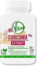 MeinVita Curcuma (Kurkuma) - 100% Vegan - hochdosiert - 98 % Curcuminoide + Curcumin + Piperin aus Schwarzen Pfeffer - 120 Kapseln