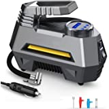 EzLife Portable Air Compressor Tire Inflator EL-3631, Car Tire Pump with Digital Pressure Gauge (150 PSI 12V DC), Bright Emer