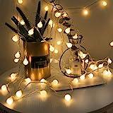 40 Boules 5M Chaîne de Lumières, LOHAS Guirlande Lumineuses à Petite Boules, Blanc Chaud, Décoration Pour Noël, Halloween, Ma