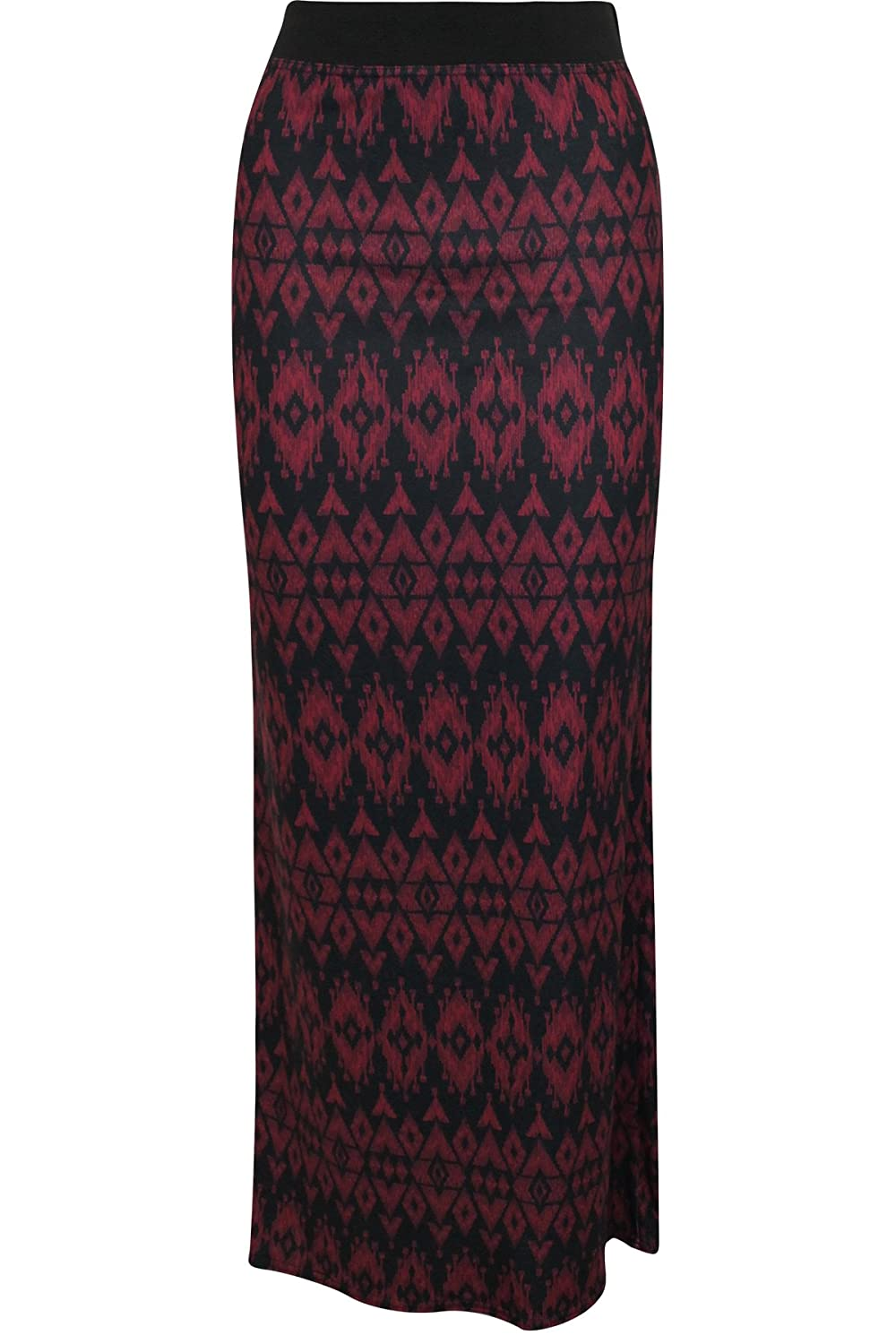 Oromiss Womens Ladies Aztec Pattern Slim Fit Maxi Monochrome Stretch Skirt:  Amazon.co.uk: Clothing