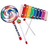 JZK Madera de xilófono 8 note y tambor mano lollipop con palo de madera, juguete Instrumento musical para ninos, regalo de cu