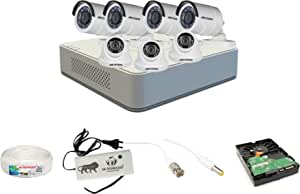 Hikvision 2MP 8 Ch HD DVR & 2MP 3 Dome -4 Bullet Camera HD Combo kit, Include All Require Accessories for 7 Camera Installation