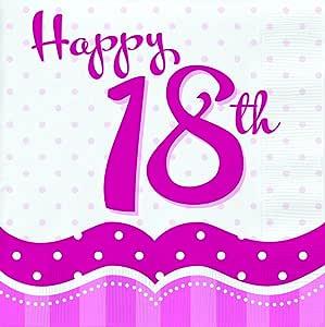 Perfectly Pink - Tovaglioli di carta per 18esimo compleanno, confezione da 18