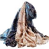 Ecroon Sciarpa stole peso leggero Scialle da Donna Stampato Motivo a Strisce Sensazione di seta sciarpa da collo Morbida Scia