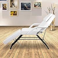 Table de Massage Réglable Lit du Massage Pliante Professionnel en Cuir PU avec Tabouret à roulette pour Salon Maison Capacité de poids: 150KG (blanc)