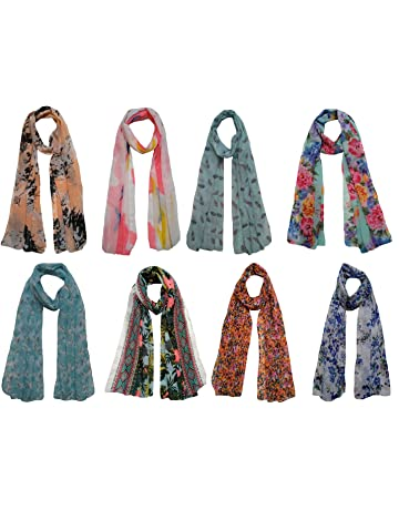 7f710195517bb Letz Dezine Women's Poly Cotton Printed Scarf/Stoles/Dupatta (LDS889,  Multicolour,