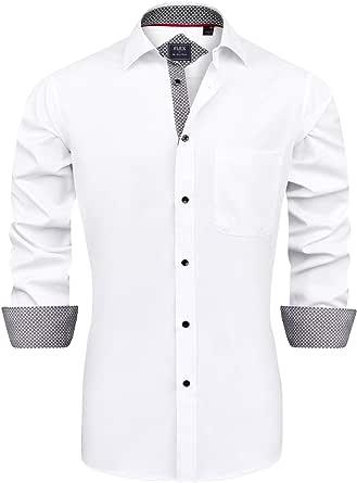 J.VER Men's Dress Shirts Long Sleeve Business Regular Fit Wedding Work Non Iron
