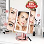 Trifold LED Makeup Mirror wowatt Makeup Vanity Mirror with Lights 36 Led, 2X/3X Magnification Touch Screen Mirror...