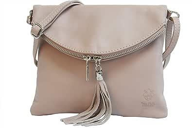 AMBRA Moda Italienische Ledertasche Schultertasche Crossover Umhängetasche Nappaleder Damen Kleine Tasche NL610