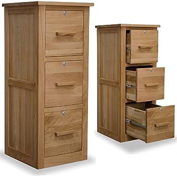 arden solid oak furniture three drawer lockable filing cabinet
