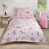 Dreamscene Unicorn Kingdom Duvet Cover with Pillow Case Reversible Star Stripe Bedding Set, Magical Fairy Castle Pink…