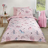 Glow in the Dark Stars Fleece Sherpa Single Duvet Set Pink Unicorn Bedding Kit