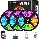 RGB ledstrip, 15 m, smart WiFi-ledstrip, lichtband met afstandsbediening, SMD5050 450 leds, kleurenveranderende ledstrip, lic