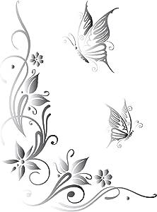 Dd Dotzler Design 041215 Klebe Folie Schmetterling Tattoo Tribal Blumen Ranke Ornament Auto Aufkleber Vinyl Folie Auto Dekor Aufkleber Folie 43 X 57 Cm Silber Metallic Auto