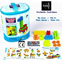 FRATELLI® Building Blocks for Kids - Certified European Saftey Standards (100 PCS - Intellect Blocks - Plastic Big Size Blocks Big Building Bag, Multicolour)