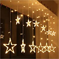 The Purple Tree Decorative Star Curtain LED Lights for Diwali Christmas Wedding - 2.5 Meter (1 Curtain, 138 LED, 6+6…