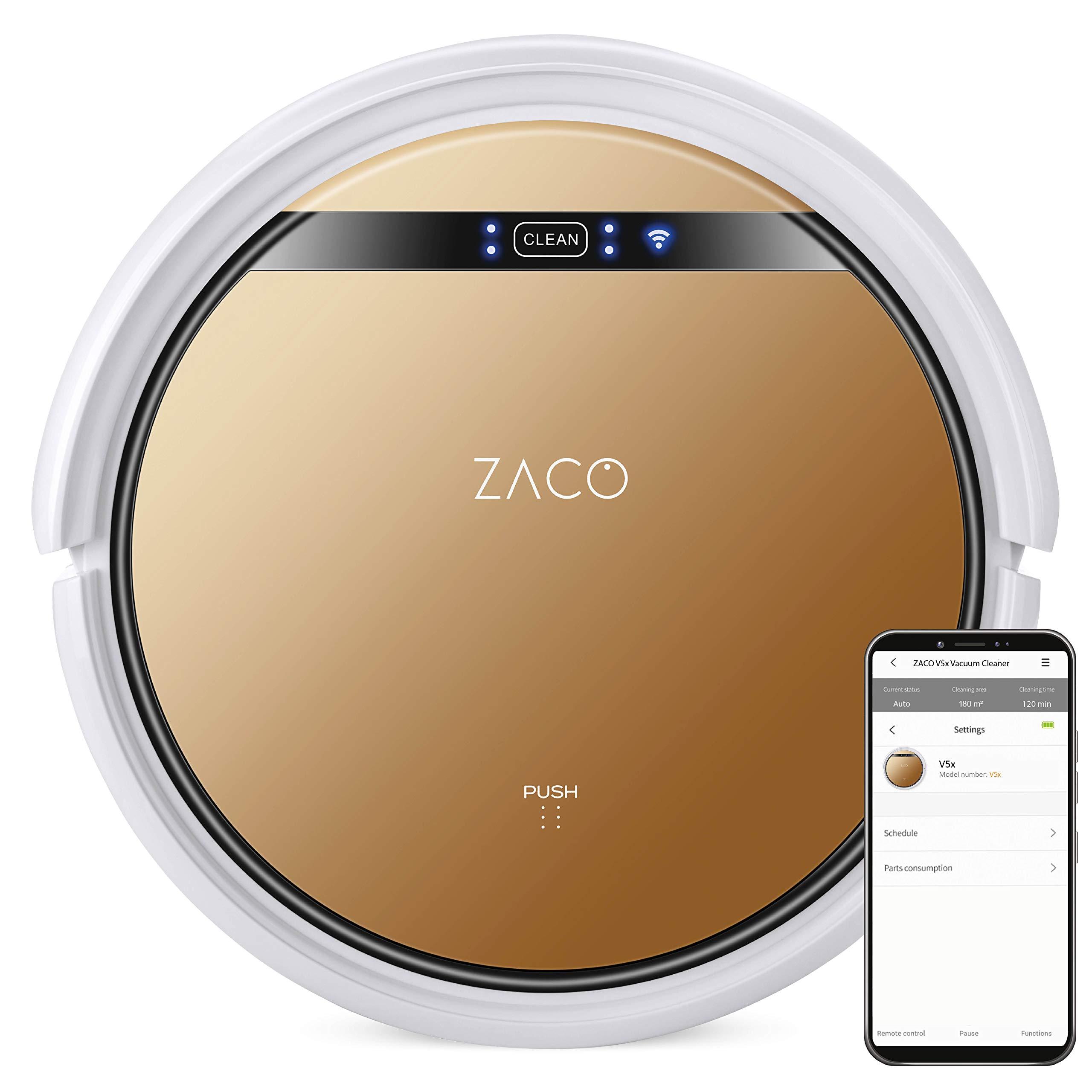 ZACO V5x Saugroboter mit Wischfunktion, App & Alexa Steuerung, 8,1 cm flach, für Hartböden & Teppich
