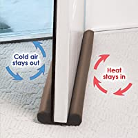 Saiyam Fabric Twin Door Draft Guard to Stop Unwanted Light and Stop Escaping of Cool Air from Air Conditioner Split for Doors and Windows (Coffee; 34.6 x 4.5 x 1.25 inch)