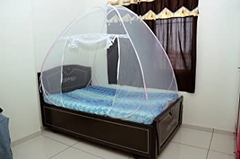 Royal Foldable Mosquito Net- Single Bed - Pink Border, Size- 6*4 Ft