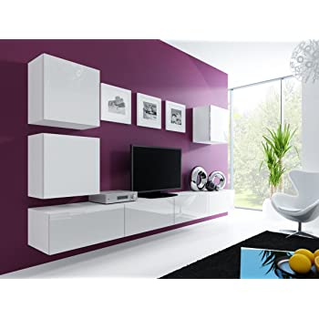 Design wohnwand anbauwand weiß grau  Wohnwand Vigo XXII, Design Mediawand, Modernes Wohnzimmer Set ...