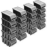 Stapelboxenset – 20 x stapelbox met deksel 195 x 120 x 90 mm – zichtbox stapelbox opbergbox, zwart
