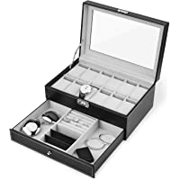 Watch Box, 12 Slots PU Leather Case Organizer with Jewelry Drawer for Storage and Display