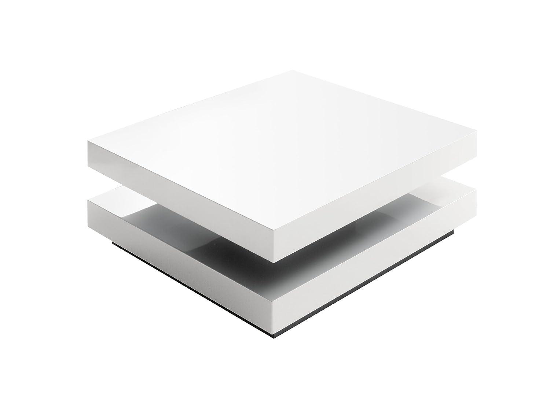 Robas Lund Couchtisch Wohnzimmertisch Hugo Hochglanz Weiss Tischplatte Drehbar 75x75x30 Cm Amazonde Kche Haushalt