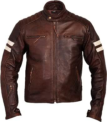 Gallanto Roma Brown Distressed Cruiser Biker Leather Motorcycle Jacket Creme Stripes