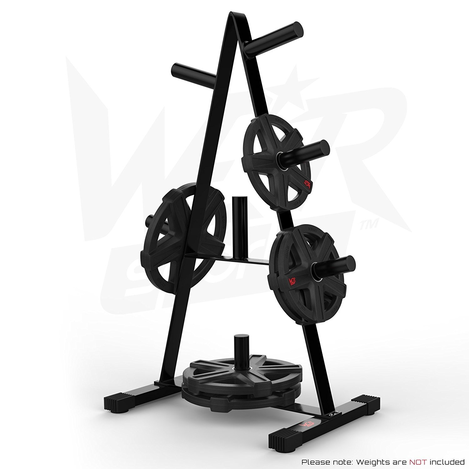 We R Sports Olympic Weight Plate Tree Rack Stand Storage For 2 Plates Discs 7 Bar Holder