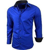 Subliminal Mode - Stiratura facile, camicia da uomo, colletto bicolore, tinta unita, maniche lunghe, taglio slim…