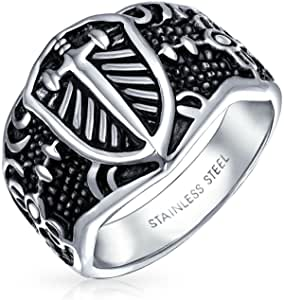 Mens Religious Viking Shield Maltase Fleur De Lis Cross Signet Band Ring for Men Oxidized Silver Tone Acciaio Inossidabile