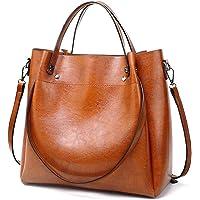 Pahajim Damen Ölwachs Leder Tasche Luxus Schulter Einkaufstasche Einfache Diagonal-Tasche PU Lederhandtaschen Ölwachs…