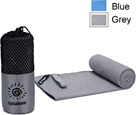 Crystalhome Microfiber Ultra Absorbent Dry Towel (Grey, 32x50 Inches)
