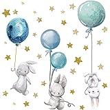 yabaduu Autocollant / sticker mural décoratif, auto-adhésif pour chambre d'enfant, de bébé et de jeux, au motif d'aquarelle e