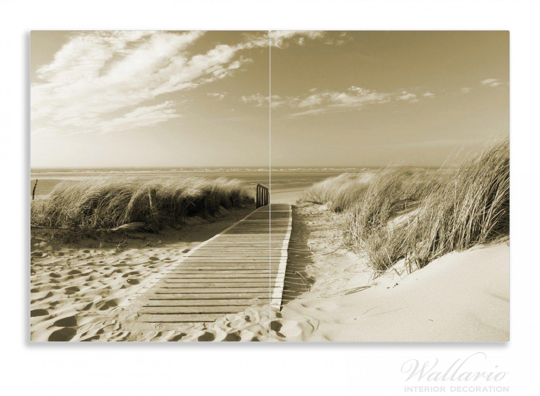 Wallario Herdabdeckplatte / Spritzschutz Aus Glas, 2 Teilig, 80x52cm, Für  Ceran  Und Induktionsherde, Motiv Auf Dem Holzweg Zum Strand In  Sepiafarben: ...