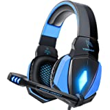 YINSAN Cuffie Gaming PS4, Cuffie da Gioco con Cavo USB Audio Jack da 3,5 mm, Cuffie Over Ear con Microfono Luce LED e…