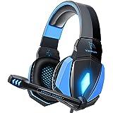 YINSAN Cascos Gaming, Auriculares Premium Stereo con Micrófono, Luz LED y Control Volumen, Diadema Acolchada y Ajustable para