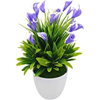 FLYNGO Artificial Flower with Plastic Pot (Blue, Green, 1 Piece).