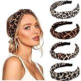 Diadema Ancha de Gasa Diademas Mujer con Estampado de Leopardo Turbante Banda Ancha Diademas Anchas de Nudo Turbante Cabello