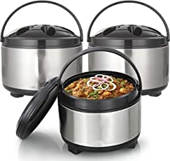 Royal Sapphire Stainless Steel With Plastic Cover & Bottom Hot-Pot Insulated Casserole Food Warmer , 2000Ml,2500 Ml ,3500 Ml, Set Of 3 Pieces