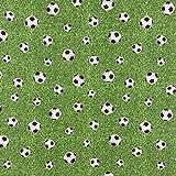 Dekostoff Fußballstoff Gras grün schwarz weiß