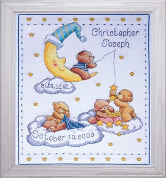 "Tobin Counted Cross Stitch Kit 11/""X14/""-Noah/'s Ark Birth Record 14 Count"