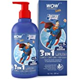 WOW Skin Science Kids 3 in 1 Wash - Shampoo + Conditioner + Body Wash - Blue Guardian Superman Edition - No Parabens, Color,